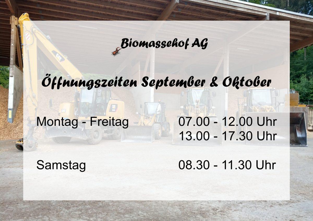 Unsere Öffnungszeiten vom 01.09 – 31.10.2018
